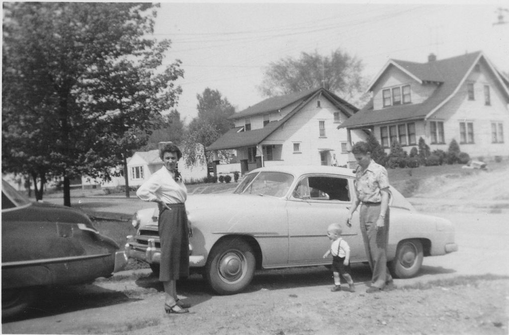 Photo -Circa 1953 – Virginia Batdorff (nee Black), myself at around two years old, and Emerson. Virginia was a freelance writer. We are in the driveway of the of Emerson's parents Dayton Street home in Akron's North Hill neighborhood. Both Pop and I partly grew up there.