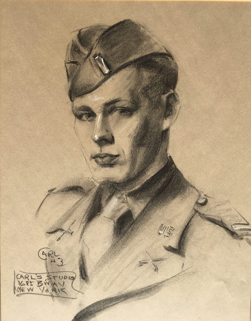 Portrait drawing -A New York City portrait artist's rendition of Emerson Batdorff produced in April 1943 shortly before he shoved off for North Africa in the U.S. Army Third Infantry.
