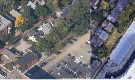 In 2014 the Uptown II project took down a small woods of trees behind three two family homes at 11302, 11306 and 11316 Hessler Rd. The Cleveland Planning Commission said it was promised a landscaping plan for this now bare landlocked parcel by Uptown II owners. The original Maron-Berusch Hessler Ford proposal located a parking lot in the open area. The new proposal leaves this landlocked parcel bare. Photos provided by Charles Hoven.