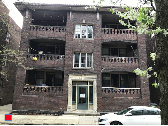 """This six suite brick building on the 'dead end"""" of Hessler Rd. has chalked up a Red, (4 noise calls), designation with four UCPD calls for noise in 2020. In University Heights, (home of John Carroll University), this level of infraction would a garner first a $250 fine then a $500 fine of Alpha Apartments by the city for a total of $750 in fines on this one building. Photo: Lee Batdorff"""