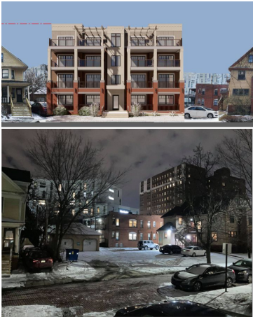 The architect's rendering of the building as originally proposed at the top does not accurately depict the Uptown II building in the background. Top image: developers Maron and Berusch; Bottom photo: Laura Cyrocki