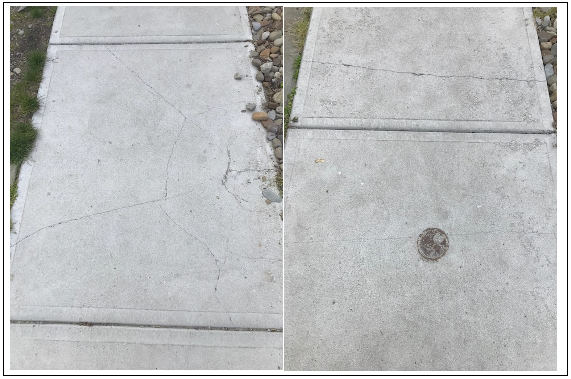 This sidewalk was poured in 2017 and it is deteriorating already.