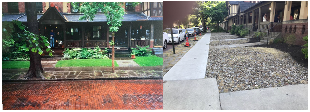 Photo at left is taken head of the row houses at 11319-11327 Hessler Rd. in 2000 when the street was empty just before vendors arrived for the Hessler Street Fair. Photo at right is taken from the side of the gravel covered front yards that developer Russell Berusch had installed in 2018. Presumably this gravel is saving Mr. Berusch the cost of having the yards mowed.