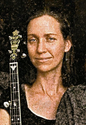 Laura Cyrocki with her instrument on the cover of the band 'The Waxwings'.